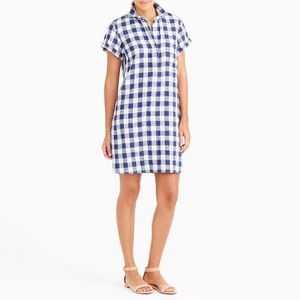 J. Crew Short-Sleeve Shirtdress in Gingham